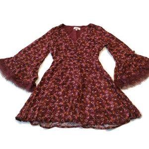 Bongo Mini Boho Dress S Jrs Surplice V Neck Brown